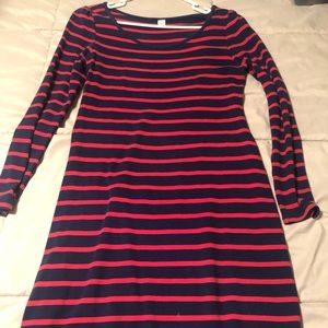 Red & Navy Striped Knee Length Dress